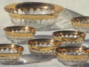 vintage wide gold band crown pattern glass bowls, salad bowl or berry set