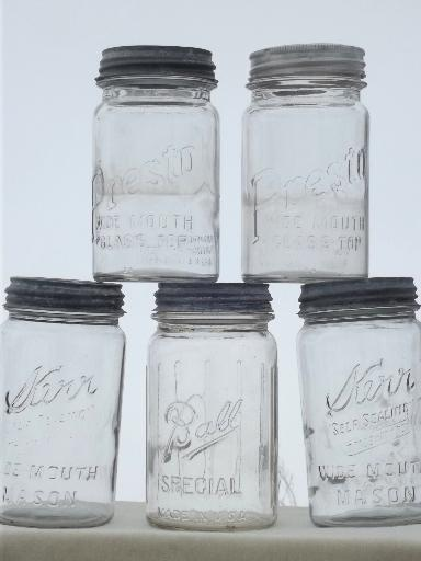 vintage wide mouth canning jars, old mason jar canisters w/ zinc lids