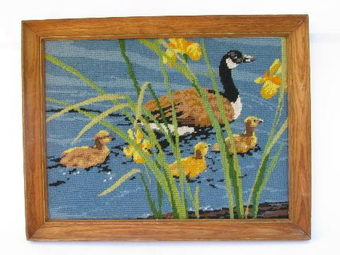 Vintage Wildlife Print Needlepoint Picture Canada Geese