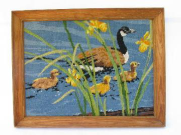 vintage wildlife print needlepoint picture, Canada geese in wood frame