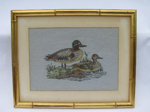 vintage wildlife print needlepoint pictures, ducks in french gold wood frames