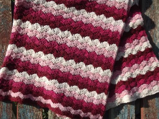 Vintage Ripple Crochet Afghan Pattern : vintage wine and pink raspberry ripple striped handmade ...