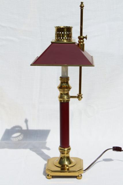 Vintage Wine Red Tole Desk Lamp Solid Brass Adjustable