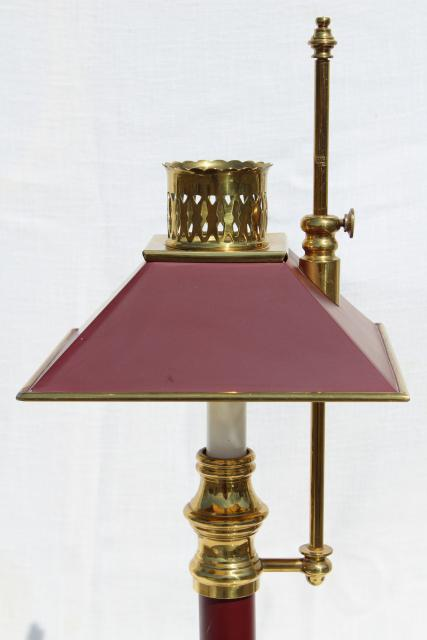 vintage wine red tole desk lamp, solid brass adjustable candlestick lamp