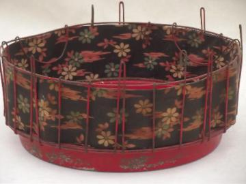 vintage wire basket bird cage stand w/ old red paint & shabby flowered fabric