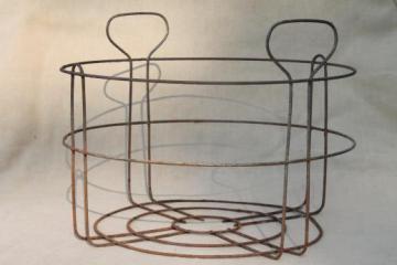 vintage wire basket canning jar rack, rustic carrier for old mason jars