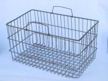 Vintage Wire Basket W/handles, Old Wirework Carrier Tote / Storage Bin