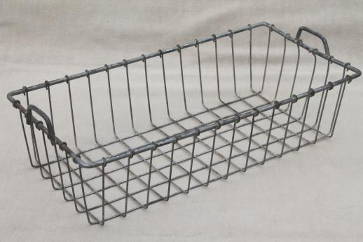 Vintage Wire Basket, Rustic Industrial Style Storage Bin For Desk Or Mod  Shelving