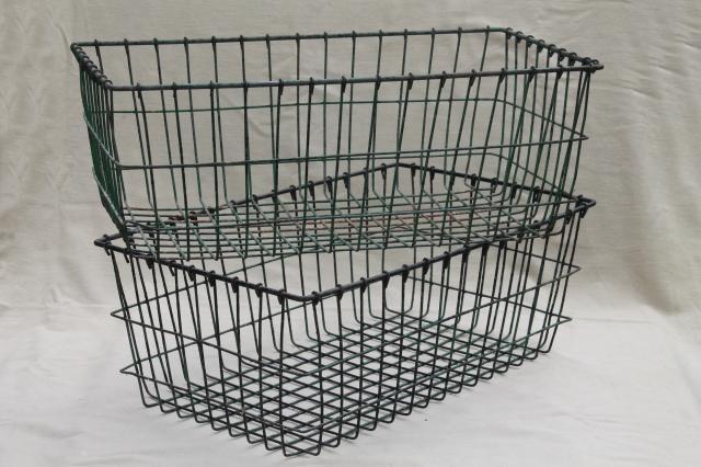 Exceptional Vintage Wire Baskets W/ Rustic Worn Paint, Industrial Storage Basket Lot