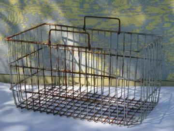 vintage wire bin w/ handles, old dairy bottle carrier basket, kitchen / pantry storage