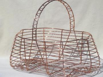 vintage wire gathering basket, copper colored wirework harvest basket