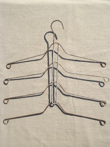 vintage wire hangers, old metal clothes rack hangers w/ stacking arms