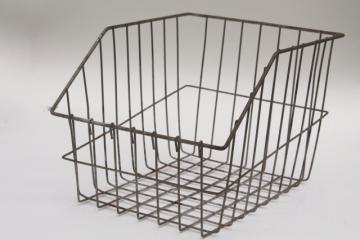 Vintage Wire Locker Basket Style Display Bin W Open Front