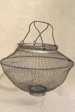 vintage wire mesh kitchen strainer, vegetable or egg basket made in Italy