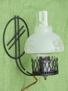vintage wirework wall sconce lamp or reading light, farmhouse chimney