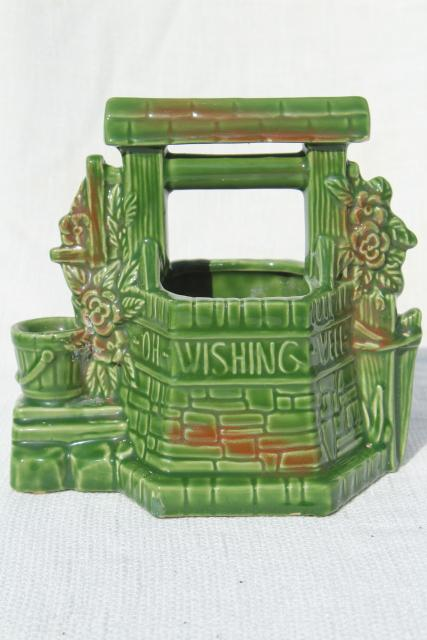 vintage wishing well pottery planter pot, St Patrick's Day lucky green
