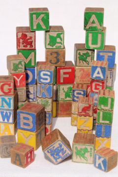 vintage wood alphabet blocks, lot primitive worn old children's letter blocks spelling toy
