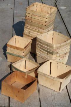 vintage wood berry baskets, quart berry boxes for farmer's market garden produce