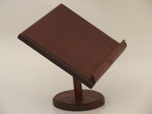 vintage wood book stand, tabletop reading lectern ...