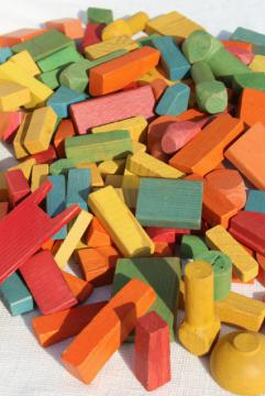 vintage wood building blocks, colorful wooden toy blocks