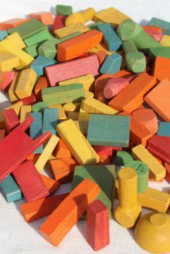 vintage wood building blocks, colorful wooden toy blocks