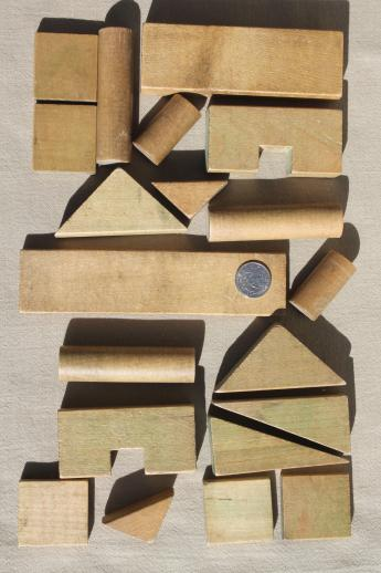 Vintage Wood Building Blocks In Print Cotton Bag Primary Block Set