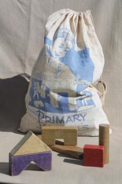 vintage wood building blocks in print cotton bag Primary Block set Playskool toy blocks