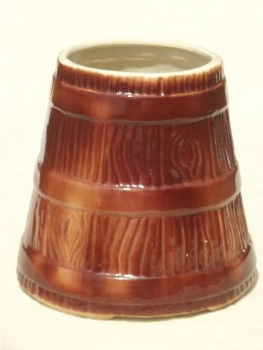 vintage wood churn cookie jar canister for holding spoons & kitchen utensils