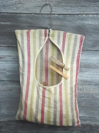 Vintage Wood Clothespins In Old Cotton Clothespin Bag For