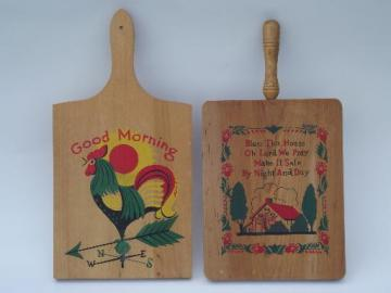 vintage wood cutting boards, kitchen breadboards w/ painted designs