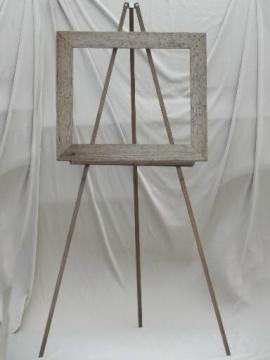 vintage wood easel display stand w/ weathered rustic barn wood sign frame