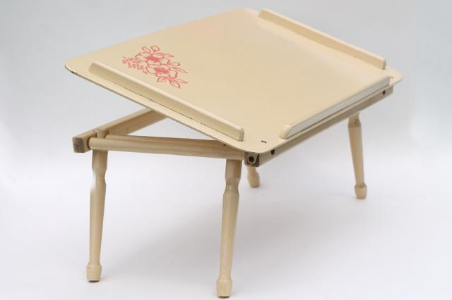 wood folding tray for bed or chair, easel top lap desk for coloring ...