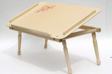 vintage wood folding tray for bed or chair, easel top lap desk for coloring, laptop or tablet
