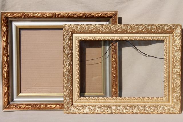 Vintage Wood Frames, Deep Picture Frames, Ornate Gesso Painted Gold Finish