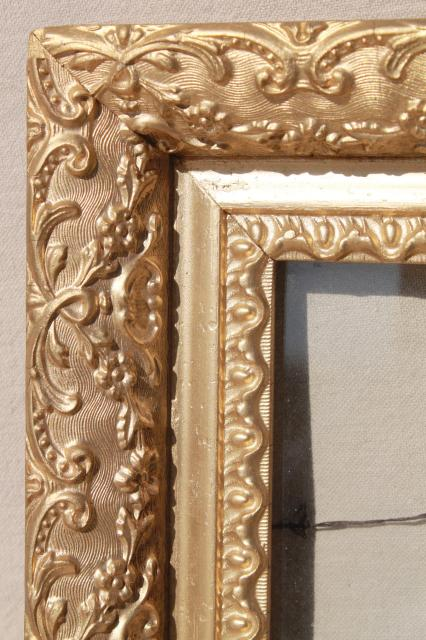 Vintage Wood Frames Deep Picture Frames Ornate Gesso