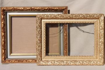 vintage wood frames, deep picture frames, ornate gesso painted gold finish
