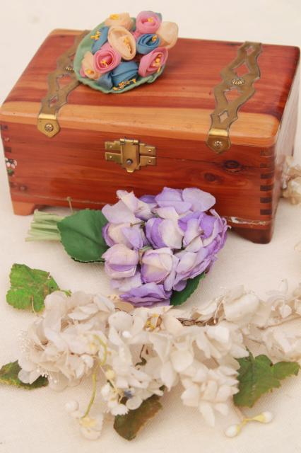 Vintage wood glove box of old corsage flowers bunches of silk flowers mightylinksfo