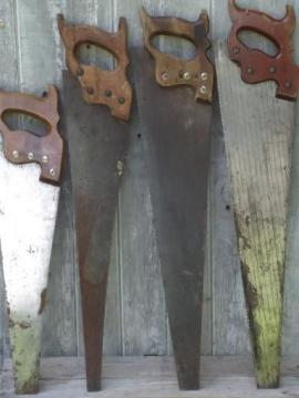 vintage wood hand saws, old Superior handsaw lot of primitive hand tools