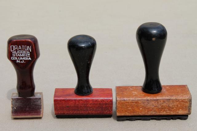 Vintage Wood Handle Desk Stamps Old Rubber Stamp Lot For