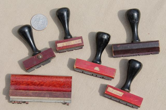 Vintage Wood Handle Desk Stamps Old Rubber Stamp Lot For