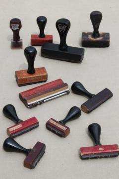 vintage wood handle desk stamps, old rubber stamp lot for business office / address stamps
