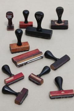 vintage wood handle desk stamps, old rubber stamp lot for business office / address stamps