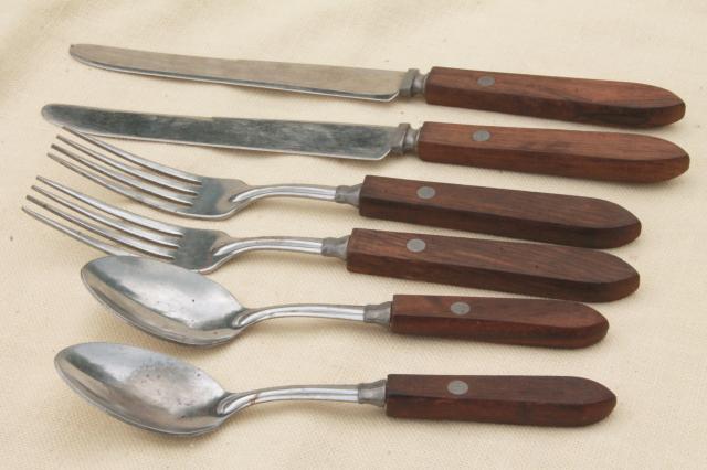 Vintage Wood Handled Flatware Picnic Basket Silverware