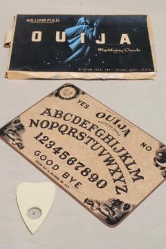 vintage wood hardboard Ouija board & planchette w/ original William Fuld game box