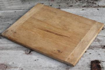vintage wood kitchen carving / cutting board, big old wooden bread board