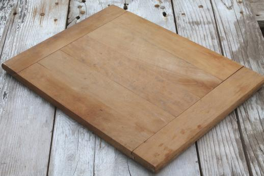 vintage wood kitchen cutting board, big old wooden bread board