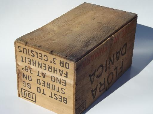 vintage wood packing crate flora danica denmark shipping box - Wooden Shipping Crates