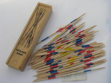 vintage wood pick-up-sticks game, painted wooden sticks, instructions