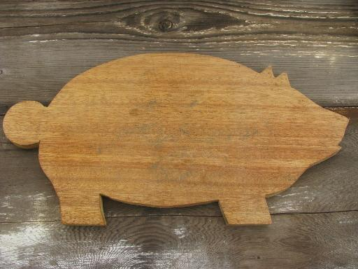 vintage wood pig kitchen board, primitive old cutting or breadboard