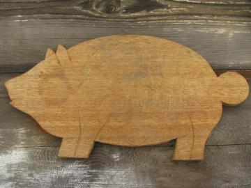 vintage wood pig kitchen board, primitive old cutting or breadboard